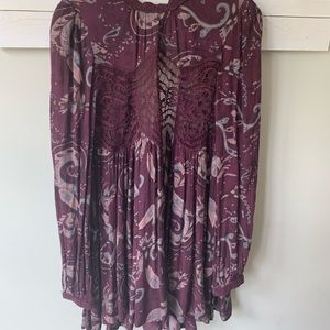 Free People floral lace tunic sz small